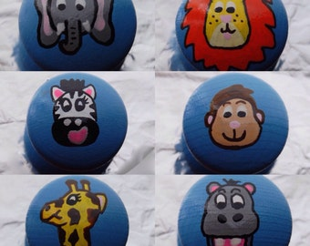 Animal Drawer Knob/ Cupboard Handle Hand Painted, 6 Choices Available Lion, Zebra, Monkey, Hippo, Giraffe, Elephant 3 Sizes Available 30mm,