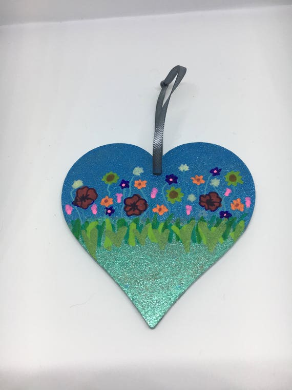 Wildflower Hanging Wooden Heart, Heart Plaque, Heart Decoration