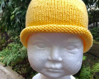 Buttercup Yellow Baby Cap with Rolled Edge (6-12 Mos)