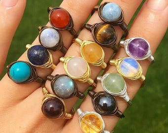 Wire Wrapped Healing Crystal Rings!