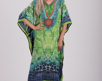 Digital Print Art Silk Long Kaftan,Plus Size  Dress,Rayon Caftan,Hippie Dress,Tunic,Free Size,Beach Cover Up,Boho Dress,Non Sheer dress