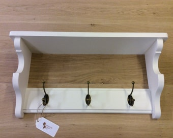 Solid Wood Coat Rack With Shelf & 3 Antique Brass Hooks