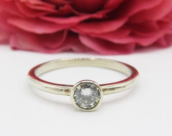 Handmade 0.35ct Diamond Bezel Engagement Ring 14k White Gold/ Size 6.5 / Modern Minimalist Simple