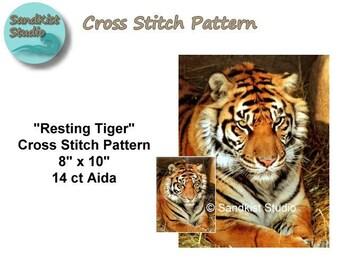 Resting Tiger, Original Cross Stitch Pattern, Instant Download