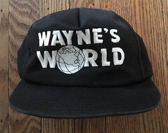 Vintage 90s 1991 Wayne's World SNL Snapback Hat Baseball Cap * Made In USA