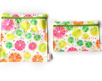 2 Reusable bags - one snack bag one sandwich bag - citrus