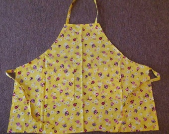 Adult chef style apron yellow with lady bugs