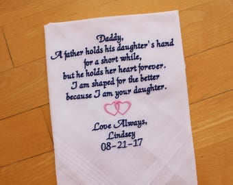 Father of the Bride Hankerchief-Wedding Handkerchief-CUSTOMIZED-Wedding hankies-Father Personalised Gift-Wedding Gift-Father of the-MS1F23
