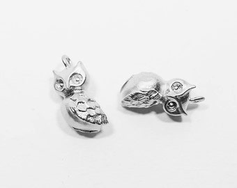 P0521/Anti-Tarnished Matte Rhodium Plating Over Brass/Owl Charm Pendant/8x13mm/2pcs