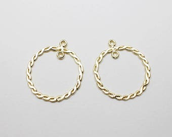 P0636/Anti-Tarnished Matte Gold Plating Over Pewter /Tweested Circle Connector/24x28mm/2pcs
