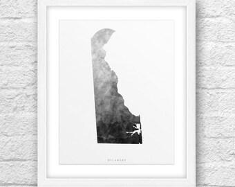 Delaware Map, Delaware Print, Delaware Art, Delaware Map Art, Delaware Printable, Instant Download, Delaware 8x10, Delaware Watercolor