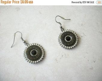 ON SALE Retro Silver Gray Enameled Black Plastic Stone Earrings 30117