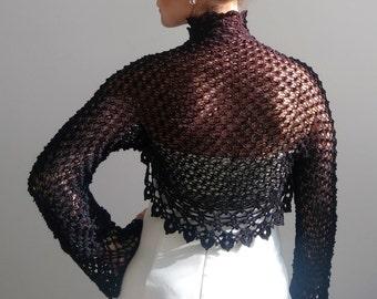 Black lacy bolero, black shrug, knit crochet cardigan, lacy shrug bolero, black shrug, fast shipping, READY TO SHİP.