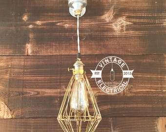 The Claxton Cage industrial ceiling light edison lamp vintage twisted cable