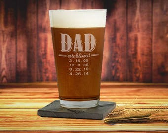 Engraved Personalized Established Dad Pint Beer Glass, Mug, Dad Established Beer Glass, Dad Glass, New Dad Gift Ideas, Dad Gift From Kids