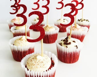 Cupcake Number Topper. Three. Third Birthday Party. Glitter Toppers. Set of 10 Party Picks. 3rd Birthday. Cake Accessories. Centrepieces.