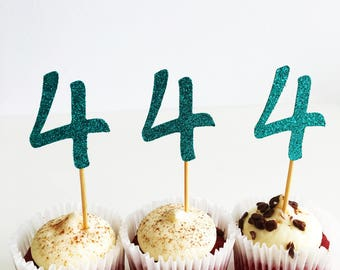 Cupcake Number Topper, Four, Fourth Birthday Party, Glitter Toppers, Set of 12 Party Picks, 4th Birthday, Cake Accessories, Centrepieces