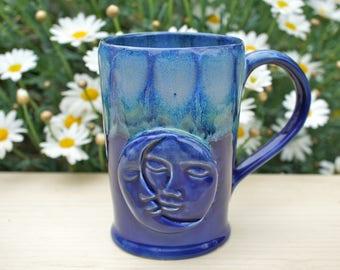 Blue Moon Child Handmade Mug - Unique Coffee Mug - Ceramic Mug - Moon Child Mug - Pottery Mug- Unique Mug - unique Mug - Crystal Mug