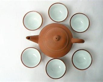 Tiny Clay Teapot & Six Porcelain Interior Cups - Unglazed Yixing Style Teapot - Small size also works as child size tea set for 6/Doll Decor