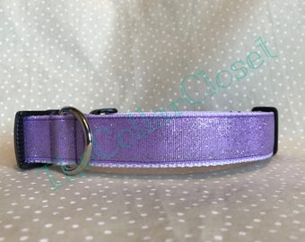 Lilac Silver Glitter Sparkle Party Dog Collar