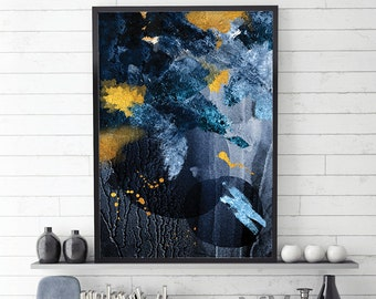 Navy and Gold Abstract, Blue and Gold, Abstract Art Print, Scandi Abstract Art, Scandinavian Abstract Art, Abstract Print, Abstract Scandi