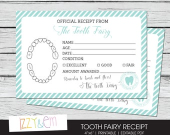 Tooth Fairy Receipt - Tooth Fairy Note - Printable Tooth Fairy Report - Lost Tooth Records - Tooth Fairy Certificate - Instant Download