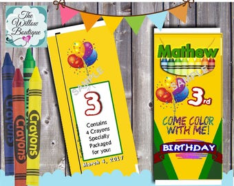 Personalized CRAYON Birthday Crayon Box Loot Favors