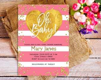 Valentine Baby Shower Invitation, Oh baby invitation Girl, Printable Valentine's Baby Shower Invitation, Gold and Pink Shower Invitation,
