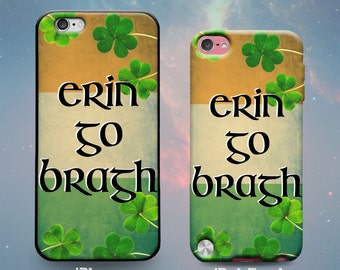Erin Go Bragh Black Celtic Lettering Irish Flag Shamrocks St. Patrick's Day Ireland Rubber Case for iPhone 7 6s 6 Plus 5s 5 5c SE iPod Touch