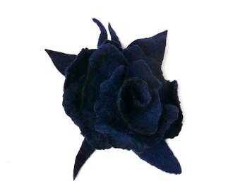 Felt brooch felted brooch navy blue flower brooches felt brooches  fiber brooch