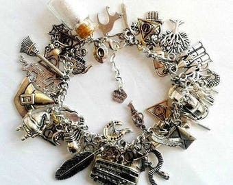 Fully loaded Harry Potter themed charm bracelet hermione hogwarts jewellery jewellry