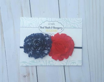 Red and Navy Star Headband- baby headband, fourth of july head band, 4th of July accessories, navy headband, baby hairbands, blue head bands