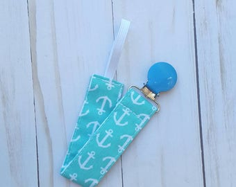Baby blue anchors pacifier clip- pacifier holder, nautical, mam nuk soothie gumdrop, universal, baby accessory, baby gift, B3G1
