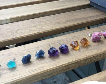Raw Crystal Stud Earrings | Crystal Studs | Amethyst | Citrine | Sapphire | Ruby
