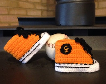 Baby BASEBALL shoes, Crochet Baby SHOES, San Francisco Giants inspired converse shoes (Handmade by me and not affiliated with the MLB)