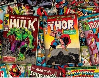 Marvel fabric - Incredible Hulk fabric - thor - captain america - spiderman- marvel comic fabric - material - sewing supply -notion - bty -