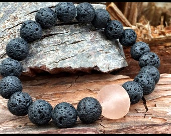 LAVA ESSENTIAL OIL difusser bracelet Vintage African Recycled Trade Glass Tribal & Raw Lava Karma Healing Aroma Therpy Bracelet