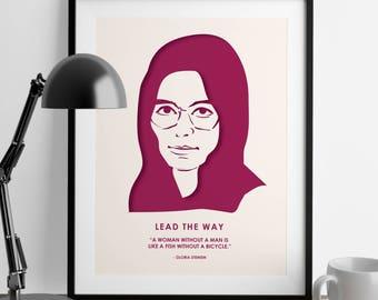 Gloria Steinem - Nevertheless She Persisted - Girl Power - Feminist Gifts - Home Decor - Girl Boss - Feminism Quotes - Wedding Gift