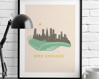 Chicago Skyline - Bike Wedding Gift – Chicago Print - Art Prints – Bicycle Wall Art - Nursery Décor – Posters – Dorm Room - Home Decor