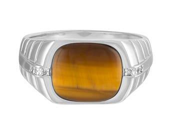 Genuine Diamond Tiger's Eye Ring, Sterling Silver Ring, Men's Tiger's Eye Ring, Brown Stone Ring, Tiger's Eye Jewelry, Men's Ring
