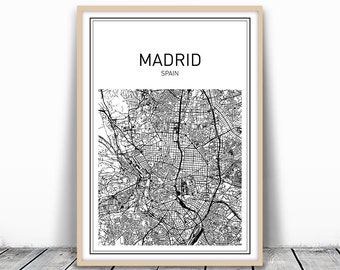 Madrid Map, Madrid Print, Spain Print, Spain Wall Art, Map Printable, Map Print Download, City Map Print, Spain Map, Decorative Map, Digital