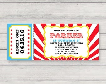 Carnival Ticket Invitation - Printable Birthday Party Circus Invitation - Instant Download - Editable Text