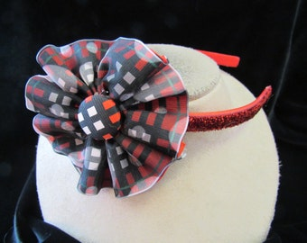 Vintage Hand Made Red White & Black Floral Head Band