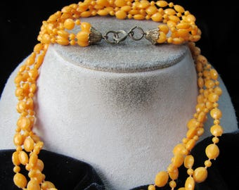 Vintage Multi Stranded Orange Beaded Necklace