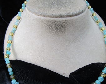 Vintage Hand Made Blue & Golden Yellow Glass Beaded Necklace