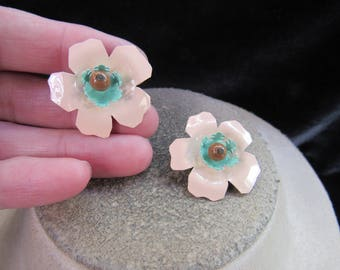 Vintage Pair Of Enameled Floral Pins