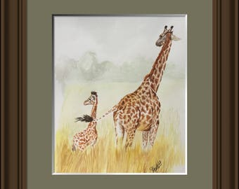 Giraffe watercolour art, April, Original watercolour painting, one of a kind art