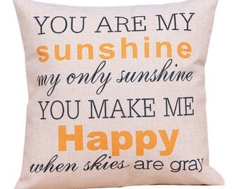 Sunshine Pillow, Song Pillow, Pillow Case, Sunshine, You Are My Sunhine