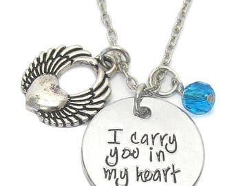 Inspirational Disk Necklace-I Carry You In My Heart