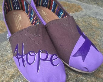 Relay for life HOPE Purple Ribbon TOMS shoe Cancer Ribbon
